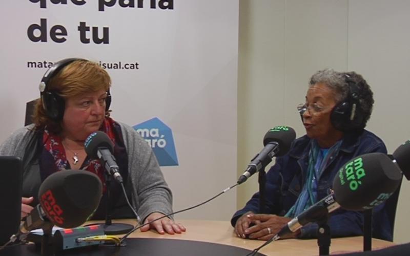 Imatge de la participació de Luisa Campos en el programa Cruïlla d'Europa, amb la periodista Teresa Carreras