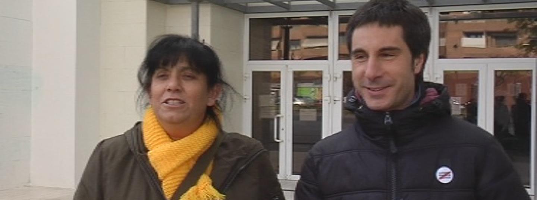 moment de l'intervenció de les exdiputades de la CUP Mireia Vehí i Eulàlia Reguant