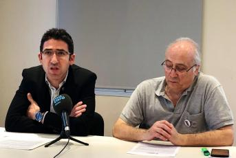 Sergi Morales i Xavier Vilert a la presentació, aquest matí, de la Beca Joan Peiró